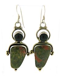 Set of Vintage Green Stone& Black Onyx Earrings Pendant