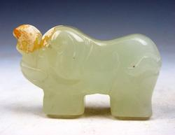 Jade Hand Carved Old Nephrite Elephant Sculpture