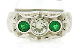 Vintage Style Euro Diamond & Tsavorite Garnet Ring