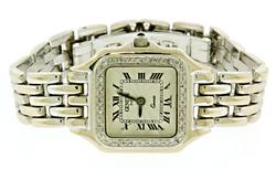Geneve White Gold Panthere Style Diamond Watch