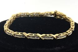 Lovely Baguette Diamond Bracelet, 7 inches