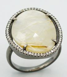 Wonderful Mother of Pearl-Quartz Ring in a Diamond Halo