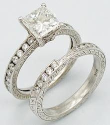 GRAND BRIDAL SET W/ 1.5 CT PRINCESS CUT DIAMOND