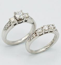 FINE QUALITY 1.45CTW CERTIFIED DIAMOND WEDDING SET