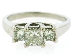 1.0 CTW Princess Triple Stone Ring.