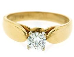 Diamond Solitaire Band at .42 CT/F Color in 18K