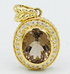 Smokey Quartz & Diamond Pendant Necklace