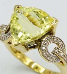 Large Lemon Quartz & Diamond Ring