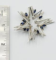 Star Brooch with Diamond & Sapphires in 18K
