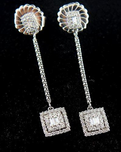 Pretty Baguette and Round Diamond Earrings