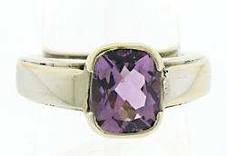 Cushion Cut Amethyst Solitaire Ring