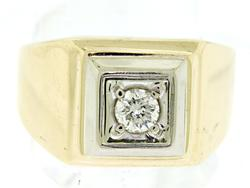 Handsome Gents Diamond Solitaire Ring in 14K