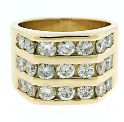 Gents 3 Row Diamond Band