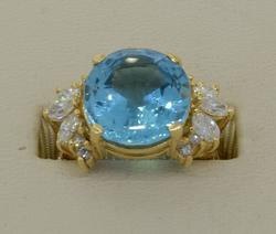 18KT 8.5CT Blue Topaz & Diamond Ring Size 4.25