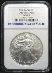 Certified 2008 Silver Eagle NGC MS69 Early Release
