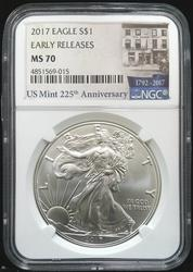 Certified 2017 Silver Eagle NGC MS70 Early Release