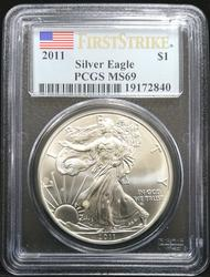 Certified 2011 Silver Eagle PCGS MS69 First Strike