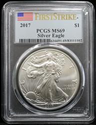 Certified 2017 Silver Eagle PCGS MS69 First Strike