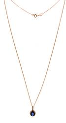 Beautiful Oval Sapphire and Diamond Halo Necklace