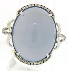 Amazing Chalcedony with Diamond Accent Ring