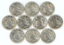 Flashy half roll of ten (10) AU/BU 1922 Peace Dollars