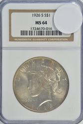 Nearly Gem BU 1926-S Peace Silver Dollar. NGC MS64