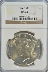 Very Choice BU 1927 Peace Silver Dollar. NGC MS63