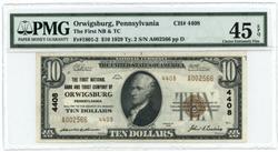 Nearly new 1929 $10 National of Orwigsburg, PA (4408)