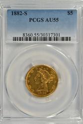 Reflective 1882-S $5 Liberty Gold Piece. PCGS AU55