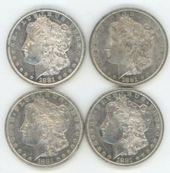 4 Flashy-white 1881-O Morgan Silver Dollars. Nice