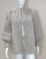 Cream and gray wool and rabbit knit sweater