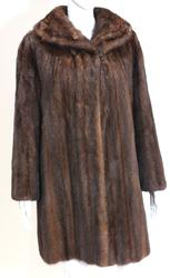 Brown mid length fur coat