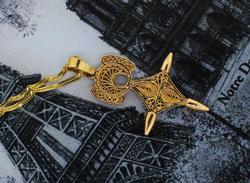 14KT Unusual Gold Filigree Pendant on 24-Inch Chain