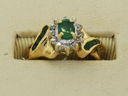 14KT Emerald and Diamond Ring Size 5.25