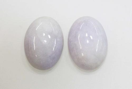 Natural Lavender Jadeite Cabochon Pair - Over 20 carat