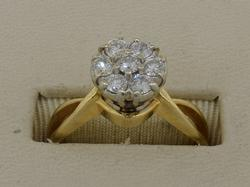 Approx .50CTW Diamond Cluster Ring set in 14K .50CTW