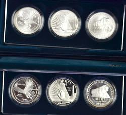 1994 Veterans 3 Coin Sets, Proof and BU, OGP