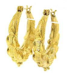 21kt Thai Style Hoop Earrings