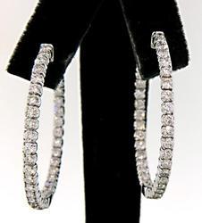 Sparkling 5.0+ Carat Diamond Hoop Earrings in 14kt Gold