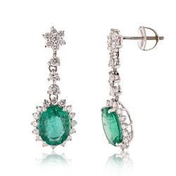 Eye-catching 4.53ct. Emerald and Diamond Earrings