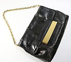 Jimmy Choo Black Eel Skin Shoulder Bag