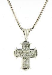 Classy Invisible Set Diamond Cross Necklace
