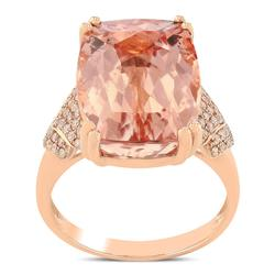 Flawless 11.57cttw. Morganite and Diamond Ring