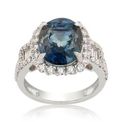 GIA Certified,Sapphire and Diamond Ring in Platinum