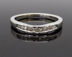 14K White Gold Chevron Diamond Band