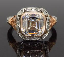 GIA Certified 3.01CT Vintage Two Tone Engagement Ring