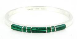 Heavy Mexican Sterling Malachite Bangle Bracelet