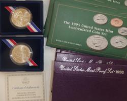 2 X 1993 Bill Of Rights Silver Dollar 5 1993 US Mint Sets 5 1993 Proof Set