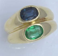 Emerald & Sapphire Double Ring, Size 5.25