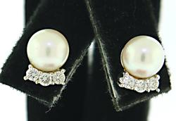 Classic Pearl Earrings with Diamond Accent